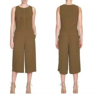 1 State Olive Green Pleated Front Culotte Jumpsuit